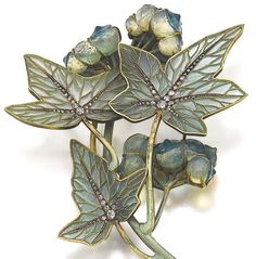 Lalique 1900 signed Enamel/ glass/diamond jewel w/later brooch fitting. Designed as stylised white bryony, the leaves decorated w/plique-à-jour enamel, circular-, single-cut & rose diamonds, the berries in glass