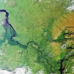 Siberia. (Envisat image acquired 2006-08-07) Siberia spreads from the Urals in the west to the Okhotsk Sea in the east, from the Arctic Ocean in the north to the borders of Kazakhstan, Mongolia and China in the south.  Three great rivers flow across it – the Ob, the Yenisei (flowing from the lower right to the upper left) & the Lena. The Yenisei is the world's fifth longest river, flowing about 4023 km. (Credit: ESA)