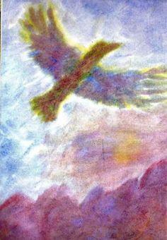 Waldorf ~ 4th grade ~ Human & Animal ~ Eagle in Flight ~ watercolor painting