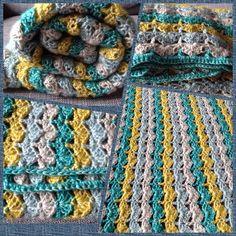 Crocheted blanket/throw, Stone Washed Scheepjes