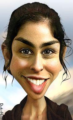 """Sarah Silverman"" - DonkeyHotey {figurative #caricature illustrator female head celebrity woman face portrait digital painting}"