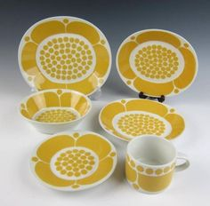 Set of Four 4 Arabia Finland Sunnuntai 6 3 4 Soup Coupe Bowls