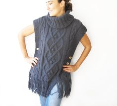 Plus Size Sweater Tunic Blue Gray  Cable Knit Poncho by by afra
