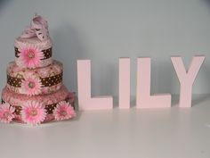 Home made fabric covered Diaper Cake With Painted Wooden Letters