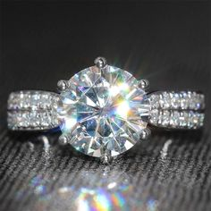3 Carat ct F Color Moissanite Ring With Real Diamond Accents Genuine White Gold…