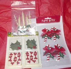 Christmas Stickers lot Paper Bliss Making Memories Hollyberries brads leaves  #PaperBlissMakingMemories #Dimensionalmixed