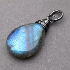 Large Smooth Labradorite Oxidized Sterling Silver by TheDangleDiva