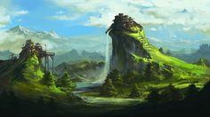 Waterfall castle wallpaper