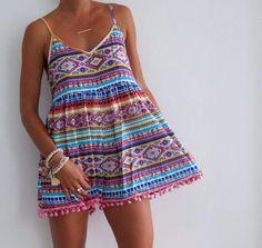 Pom Pom Jumpsuit  Bright Aztec Print with White Pom by ljcdesignss