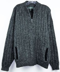 ORVIS 100% WOOL HEAVY CABLE KNIT ZIP FRONT CARDIGAN PATCH ELBOW GRAY XL #Orvis #Cardigan