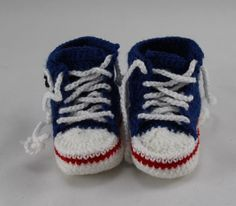 Crocheted Blue  Converse  Style Baby Booties