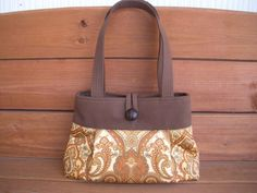 Fabric Handbag / Spring Fashion / Reversible with Gold Damask print / Ready to ship. $28.50, via Etsy.