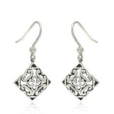 Amazon.com: Sterling Silver Celtic Filigree Square Dangle Earrings: Jewelry
