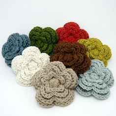 cute crocheted clips for hats...would love to have one in every color:)
