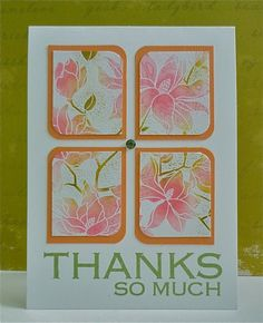 SUPPLIES:   Card Stock: White (local), Orange (; Stamps: Hero Arts CG271 Large Blossom, CG330 Flower Dot Pattern, CL350 Big All Time,; Inks: Distress Ink Worn Lipstick, Spun Sugar and Crushed Olive, Memento Bamboo Leaves; Embellishments: Hero Arts gems    INSTRUCTIONS:    1.Stamp the Large Blossom stamp with Colorbox White (or versamark) and emboss with White Embossing powder.  2.Sponge with Spun Sugar on the flowers with Worn Lipstick in the centres and Crushed Olive for the stems.  3.Stamp…
