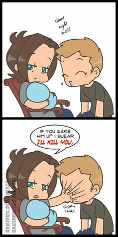 Sam and Dean babysitting (if it were Jensen and Jared it would be Jensen in the chair).