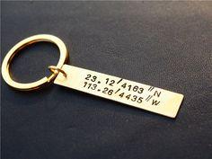 Latitude and longitude Keychain, best friend gifts ,Custom keychain,Golden key chain, Hand Stamped - Personalized,Geek key chain
