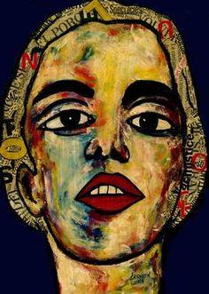 "Saatchi Art Artist CARMEN LUNA; Painting, ""28-RETRATOS Expresionistas. Sorprendida."" #art http://www.saatchiart.com/art-collection/Painting-Assemblage-Collage/Expressionist-Portrait/71968/51263/view"