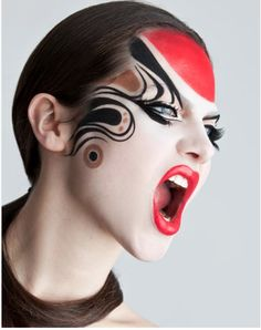 Modern Kabuki makeup as interpreted by mega talent, Timothy Hung. Blanche Macdonald mind blowing makeup artist.