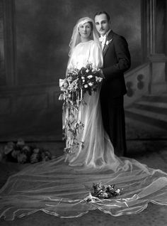 circa 1920's ~ Lovely vintage wedding gown