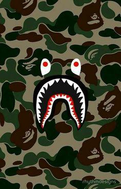 'BAPE Camo + Shark Face Logo' iPhone Case/Skin by rhythmdesigns Bape Shark Wallpaper, Bape Wallpaper Iphone, Cool Wallpaper, Wallpaper Backgrounds, Arte Dope, Dope Art, Bape Wallpapers, Sketch Manga, Shark Logo