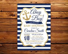 ahoy its a boy nautical baby shower invitation nautical theme baby shower nautical baby shower ideas navy blue and white anchor