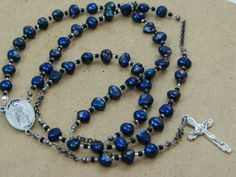 My favorite rosary of blue freshwater pearls - Unisex 5 Decade Catholic Rosary Chain by nonie615, $45.00