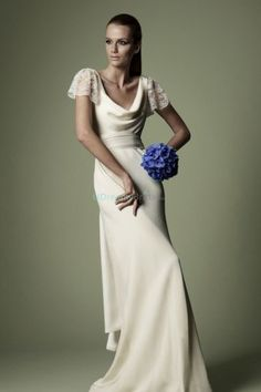 Vintage wedding dress with cowl neckline and short lace sleeves. Features low back design and a drape tied at a bowknot back. Free made-to-measurement service for any size. Available colors seen as in Color Options.