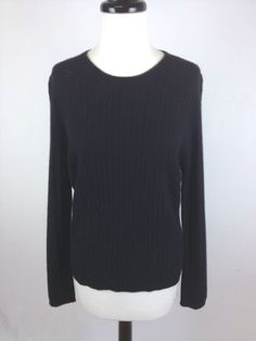 Odeon Sweater Cashmere Knit Black Crewneck Luxury Ribbed Layers Womens M | eBay