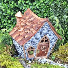 Shingletown Gnome Cottage Style Home Fiddlehead Miniature Fairy Garden House Fairy Garden Doors, Fairy Garden Houses, Fairies Garden, Garden Beds, Garden Paths, Home And Garden, Terrarium, Cottage Style Homes, Fairy Garden Accessories