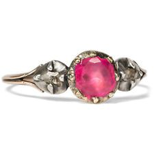 ca.1780: Antique Ruby Ring Gold, Silver & Diamonds Georgian Ruby Rococo