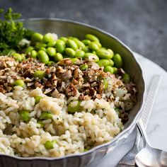 This Lemon and Edamame Bean risotto with crushed pecans is a fun twist on the classic risotto. It makes a great, hearty dinner and will please everyone! Risotto is one of my favourite go-to meals, a while ago I shared this Wheatberry Risotto (also awesome!) but I wanted to share a classic aborio rice risotto …