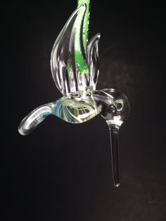 Hand Blown Silver Veiled and Colored Hummingbird by JABGLASSART, $25.00