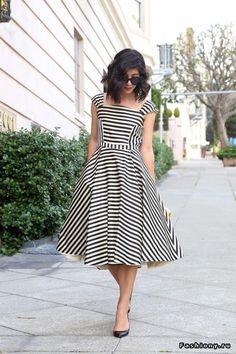 Black white stripe dress 1940