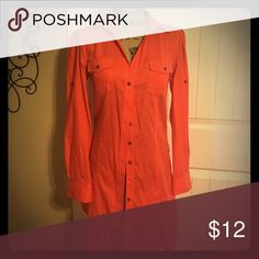 Orange button up shirt dress I really love this orange color and how the dress is made. This looks really nice on and is so comfortable. It's a Dress Shirt Dress. I guess that's how you would describe it. Lol. Zara Basic Dresses Midi
