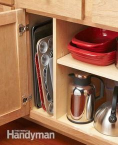 Organization tip for pans and trays: Keep trays, baking pans and cutting boards organized and easy to find.