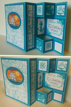 Tri•Fold Shutter Card (modified layout).  Stampin UP stamps: The open sea, Set sail, World map & Bring on the cake.  (Photo only)