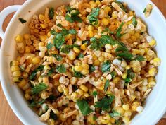 This zesty corn salad is bursting with flavor! From the cilantro, to the fresh lime juice, chili powder, and hot habanero cheese. So, so tasty! Especially when you top it off with sliced grilled chicken.