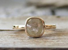 Handmade 14K yellow gold bezel set ring featuring a natural cushion rose cut yellow/translucent gray diamond measuring 7.1 x 6.9 mm and weighing 1.05