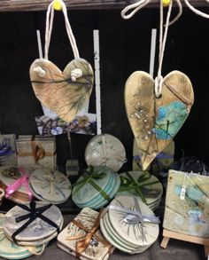 hanging hearts and coasters