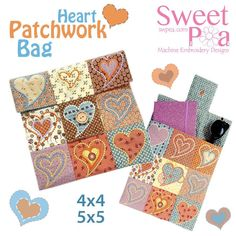 Heart patchwork bag 4x4 5x5 in the hoop machine embroidery design - Sweet Pea