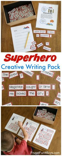 Superhero Creative Writing Printable Pack - Build sentences and stories, help kids improve vocabulary and choose strong verbs