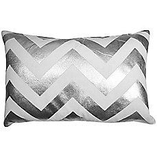 image of The Vintage House by Park B. Smith® Chevron Foil Oblong Throw Pillow in White