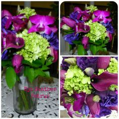 Purple, Fuchsia, and lime green Wedding Bouquet. By: Heather Petrus