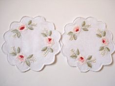 Hand Stitched Embroidery Coasters 100 Cotton Coasters by AllSoCute, $19.50