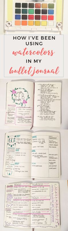 Bullet Journal Watercolor Spread http://productiveandpretty.com/bullet-journal-water-color/?utm_campaign=coschedule&utm_source=pinterest&utm_medium=Jen%20%2B%20Liz%20%7C%20Productive%20and%20Pretty&utm_content=Bullet%20Journal%20Watercolor%20Spread