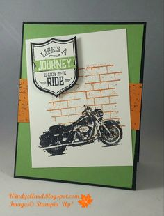 Stampin' Up!, One Wild Ride, Windy's Wonderful Creations: , Ghoulish Grunge, Best Badge punch Masculine Birthday Cards, Birthday Cards For Men, Masculine Cards, Male Birthday, Scrapbooking, Scrapbook Cards, Boy Cards, Men's Cards, Manualidades