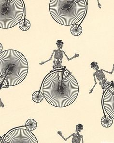 Chillingsworth's Bicycle Race - Tall Bikes & Skeletons - Vanilla.  THIS FABRIC THOUGH!! My mummy dearest is getting it for me for a fantastic rockabilly dress with capped sleeves and pockets!! I'm completely in love with it!!! :D
