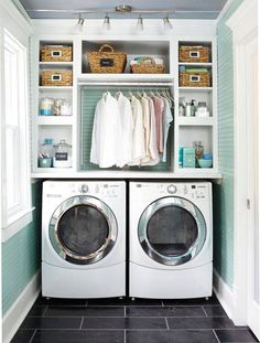 Best 20 Laundry Room Makeovers - Organization and Home Decor Laundry room decor Small laundry room organization Laundry closet ideas Laundry room storage Stackable washer dryer laundry room Small laundry room makeover A Budget Sink Load Clothes Small Laundry Rooms, Laundry Room Design, Compact Laundry, Kitchen Design, Design Bathroom, Small Bathrooms, Colorful Laundry Rooms, Small Rooms, Vintage Laundry Rooms