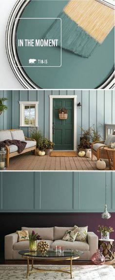 The possibilities are endless when it comes to the BEHR 2018 Color of the Year: In The Moment. Allow the blue-green hue of this paint color to create a calming, relaxing environment in your home. This front porch uses a monochromatic color palette while t Wall Colors, House Colors, Interior Design Inspiration, Color Inspiration, Interior Ideas, Design Ideas, Kitchen Inspiration, Design Trends, Two Tone Walls